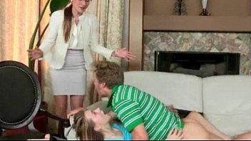 stellar step-mom in glasses caught teenage duo humping.