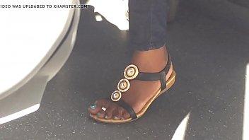 Hidden cam sexy ebony feet on train - more at GirlsDateZone.com