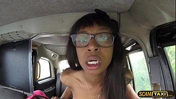 Damn horny ebony Lola rides a big cock inside the taxi