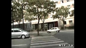 nasty french teenager exhibs and blows a man.