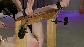 leila rails the confine bondage bench.