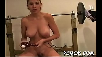 Exposed bombshell with nice tits enjoys a relaxing smoke session
