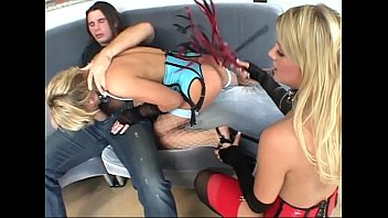 3some in spandex corsets stocking and.