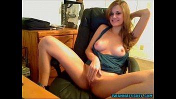 Hot blonde great tits masturbates on cam