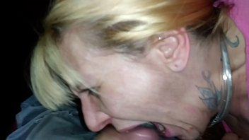 Wife Shannon takes a mouth full of husbands jizz and shares it with him.