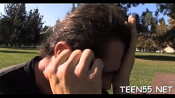 Slutty teen explores mature jock