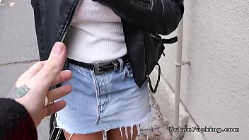 hefty mammories student flashing outdoors in.