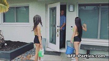 Titty teen carwash threesome fuck