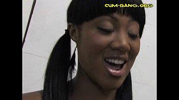 Sexy Black Babe Sucks White Rod