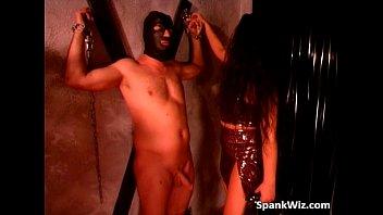 Naughty sexy brunette spanks guys butt