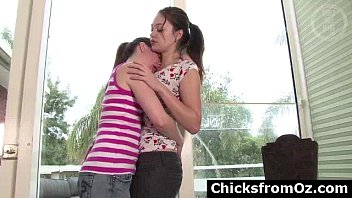 Amateur Aussie teen lesbians kissing and stripping naked