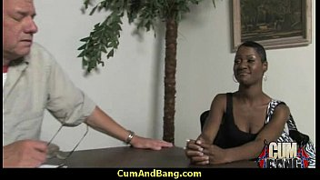 Black slut used for blowjobs by a group of white men 21