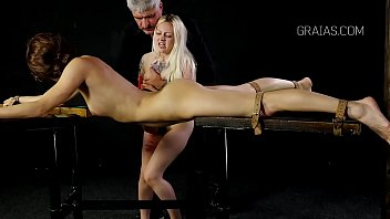 Bound girl whipped and candle used on her