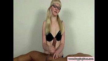 Blonde spex teen wanking his hard cock