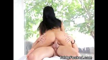 Cheap Brunette Beauty Lexi Dona Banged On A Massage Table