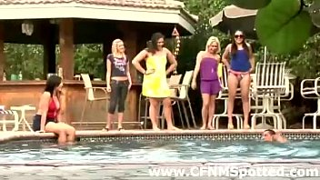 group of classy cfnm damsels abase dudes by pool