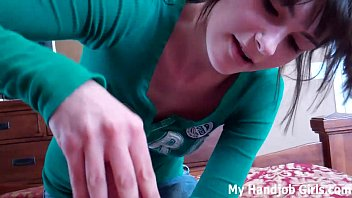 Stroked off by your naughty teen step-sister
