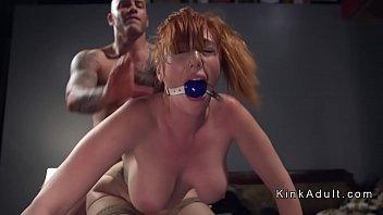 Gagged huge tits redhead anal fucked