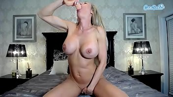 Sara Jay big tits MILF in fishnet hammered by young big cock stud.