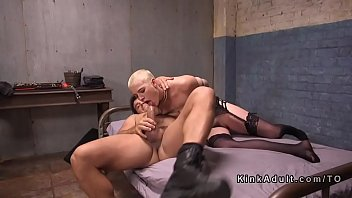 Short haired blonde slave got deep throat