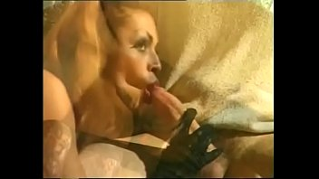 steamy t-model gets penetrated by two fat sausages.