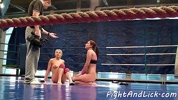 Lesbian babes enjoying naked wrestling