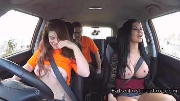 Instructor gets threesome with busty babes