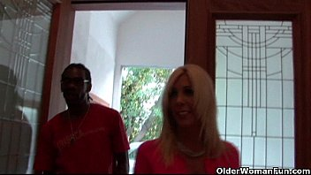 Blonde milf gets cumshot from a big black cock