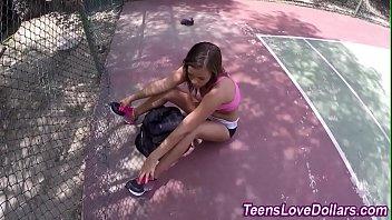 Real teen sucks on court