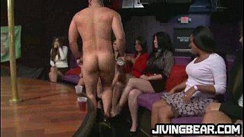 ebony slut blows big cock at party