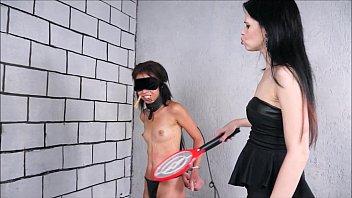 Lezdom debutant Pollys domination by Karina Cruel punishing her teen slavegirl b