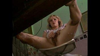 under desk glance of her getting off.