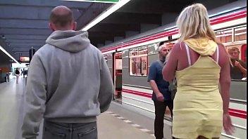 Big tits girl Stella Fox PUBLIC sex threesome in a subway train with 2 guys