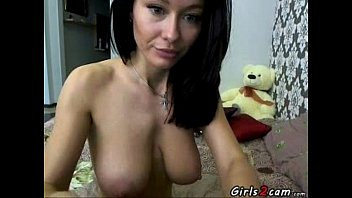 Brunette masturbates and shows her perfect natural big tits