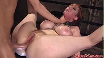Busty redhead submissive assfucked in BDSM