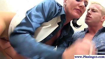 Piss fetish babe screwed in public bathroom