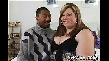 Guy satisfying sexy chubby