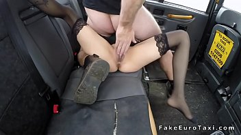 Babe in stockings licked and fucked in cab