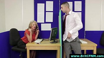 Amateur guy strips for CFNM British babes in office