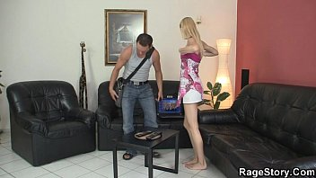 he is screwing his whorey silver-blonde gf from behind