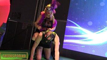 Fatty brunette bdsm show with a slave