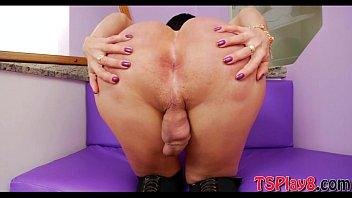 Huge ass tranny Paula D Avila wanks her fat hard schlong