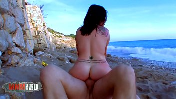 Hot young latina slut fucked at the beach