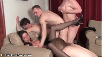 four mature chicks goes wild porking