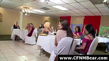 Strippers get blowjobs from CFNM amateurs at party