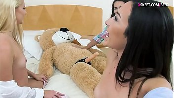 BFFs fucking teddy bear with strap dildo