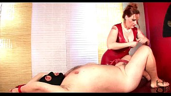 cbt bondage with chubby mistress in red latex