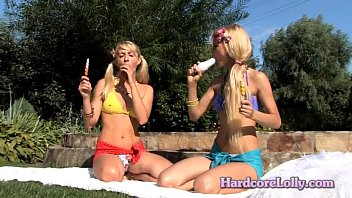 two silver-blonde fucksluts taunting