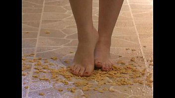 Foot Fetish - Sexy feet stepping on crunchy cereal