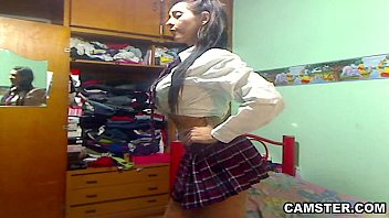 Big tits &_ ass Latin schoolgirl striptease out of her uniform